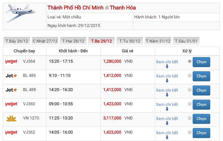 Vé máy bay Vietjet Air đi Thanh Hóa