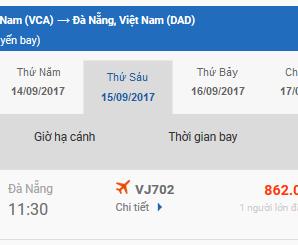 Vé máy bay Cần Thơ Vinh của Vietjet Air