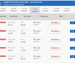 Vé máy bay Bình Định Vinh của Vietjet Air