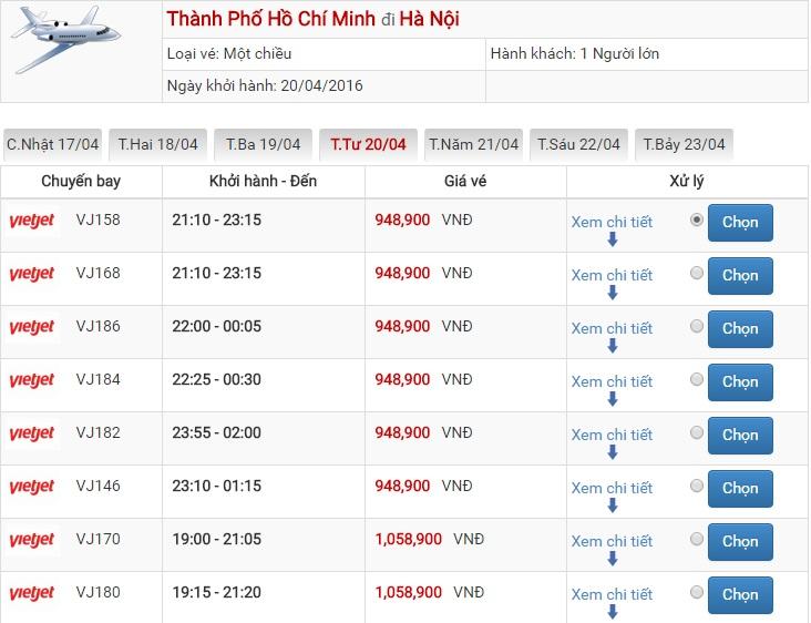 Bảng giá vé máy bay Sài Gòn Hà Nội của Vietjet Air