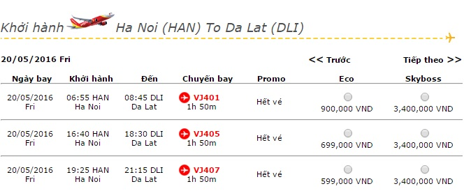 Vé máy bay Vietjet Air đi Đà Lạt khuyến mãi giá rẻ